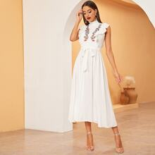 Frilled Neck Ruffle Trim Embroidered Belted Dress
