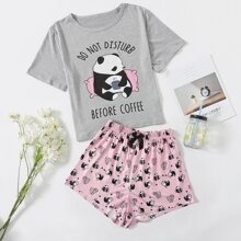 Letter & Cartoon Graphic PJ Set