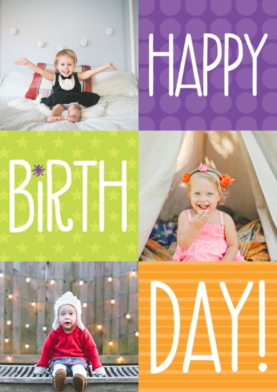 Birthday Party Invites 5x7 Cards, Premium Cardstock 120lb with Scalloped Corners, Card & Stationery -Bright Color Box Birthday by Well Wishes
