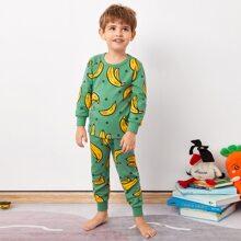 Toddler Boys Banana And Polka Dot PJ Set