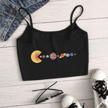 Celestial Bodies Print Crop Cami Top