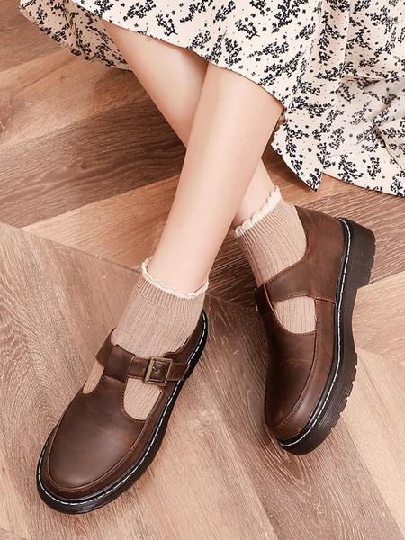Milanoo Classic Lolita Footwear Round Toe PU Leather Lolita Pumps