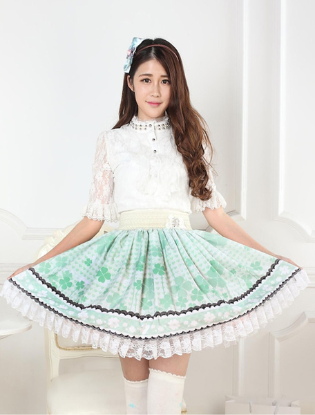 Milanoo Grass Green Polyester Lace Lolita Skirts