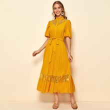 Frilled Neck Lace Insert Puff Sleeve Pleated Shirt Dress