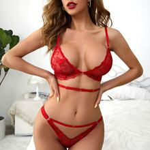 Embroidered Mesh Cut-out Lingerie Set