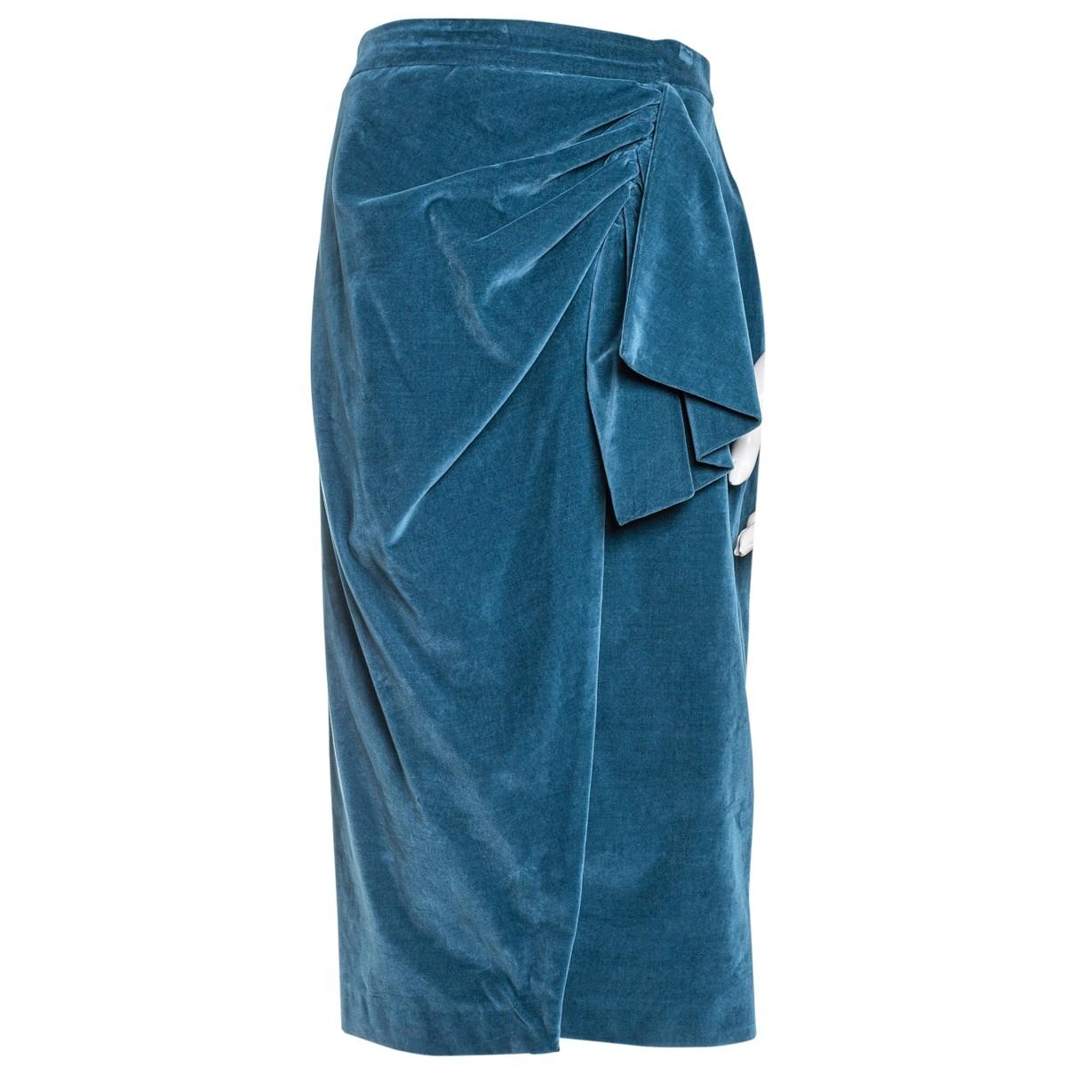 Uterque - Jupe   pour femme en velours - turquoise