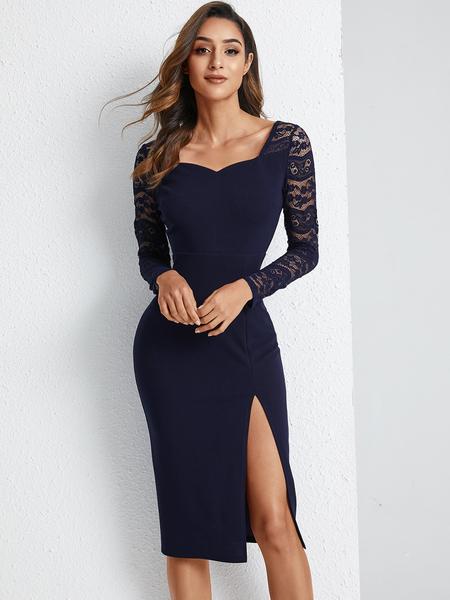 YOINS Navy Lace Patchwork Slit V-neck Long Sleeves Dress
