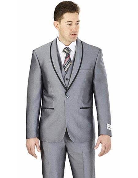 Men's Lorenzo Bruno Single Breasted Slim Fit Gray Shawl Lapel Suit