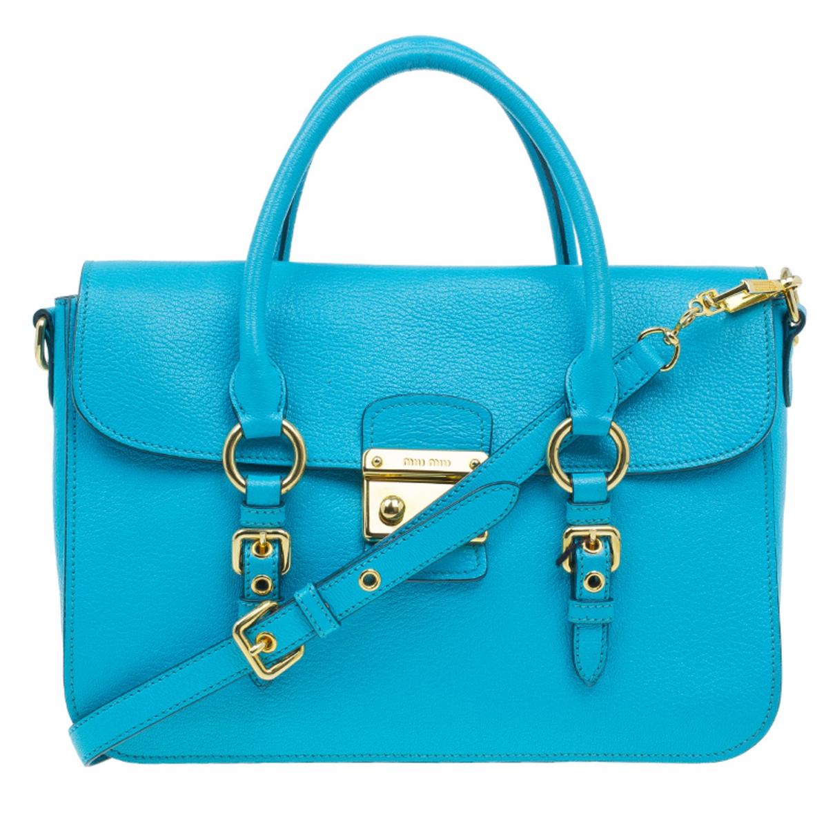 Miu Miu Madras Handtasche in  Blau Leder