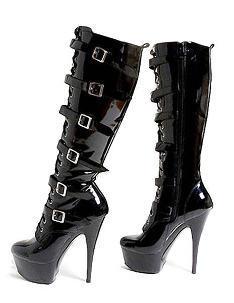 Milanoo Botas de tacon alto plataforma longitud Club Sexy zapatos hebilla Punk Polo baile patente talon botas