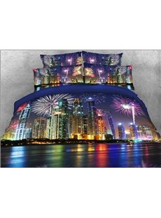 Vivilinen 3D Night Cityscape Printed 5-Piece Comforter Sets
