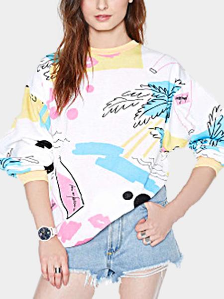 Yoins Fashion Random Print Round Neck Sweatshirt