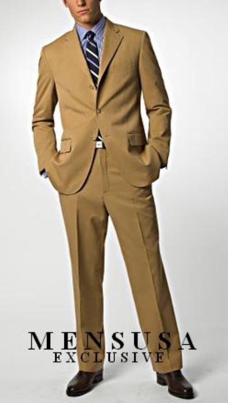 Dark Camel/Bronze/Tan 3Button Wool Feel Poly/Rayon