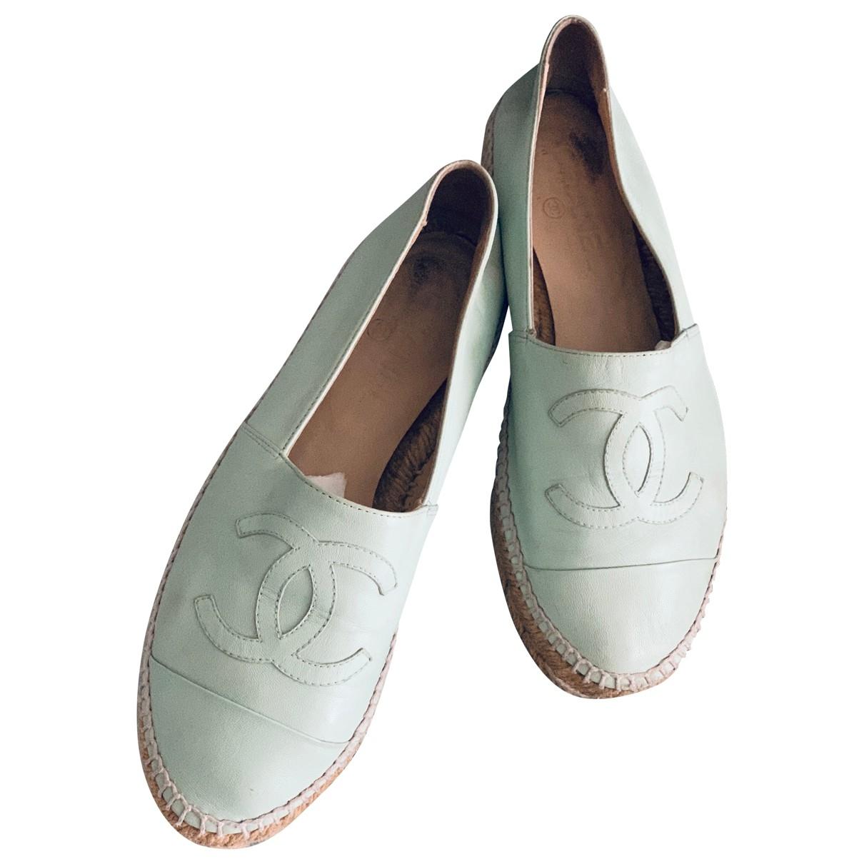 Chanel - Espadrilles   pour femme en cuir - vert