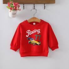 Toddler Boys Cartoon Car Print Sweatshirt