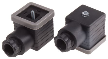 RS PRO 3P+E DIN 43650 A, Female Solenoid Valve Connector, 250 V ac Voltage, Black (5)