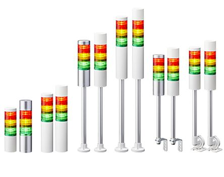 Patlite LED Pre-Configured Beacon Tower With Buzzer, 5 Light Elements, Amber, Blue, Green, Red, White, 24 V dc