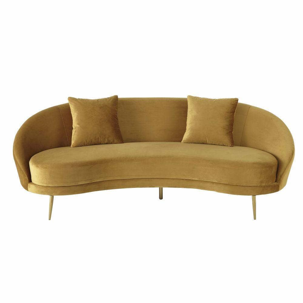 3/4-Sitzer-Sofa im Vintage-Stil mit Samtbezug, gelb Glover