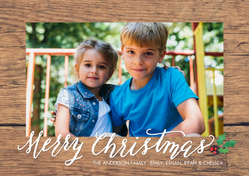 Christmas Photo Cards 5x7 Cards, Standard Cardstock 85lb, Card & Stationery -Christmas Rustic Holly