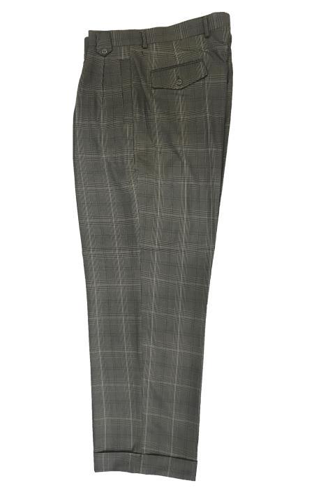 Wide Leg Slacks ~ Dress Pants Patter Gray Window Pane ~ Plaid