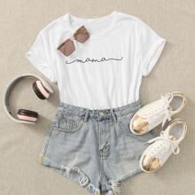 Weiss Buchstaben  Laessig T-Shirts