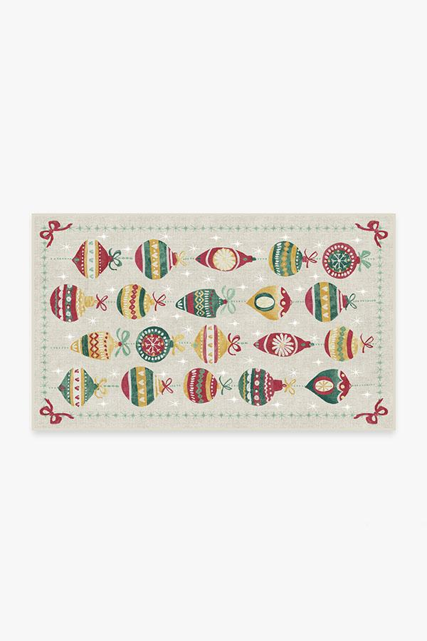 Washable Rug Cover & Pad | Festive Garland Holiday Shortbread Rug | Stain-Resistant | Ruggable | 3'x5'