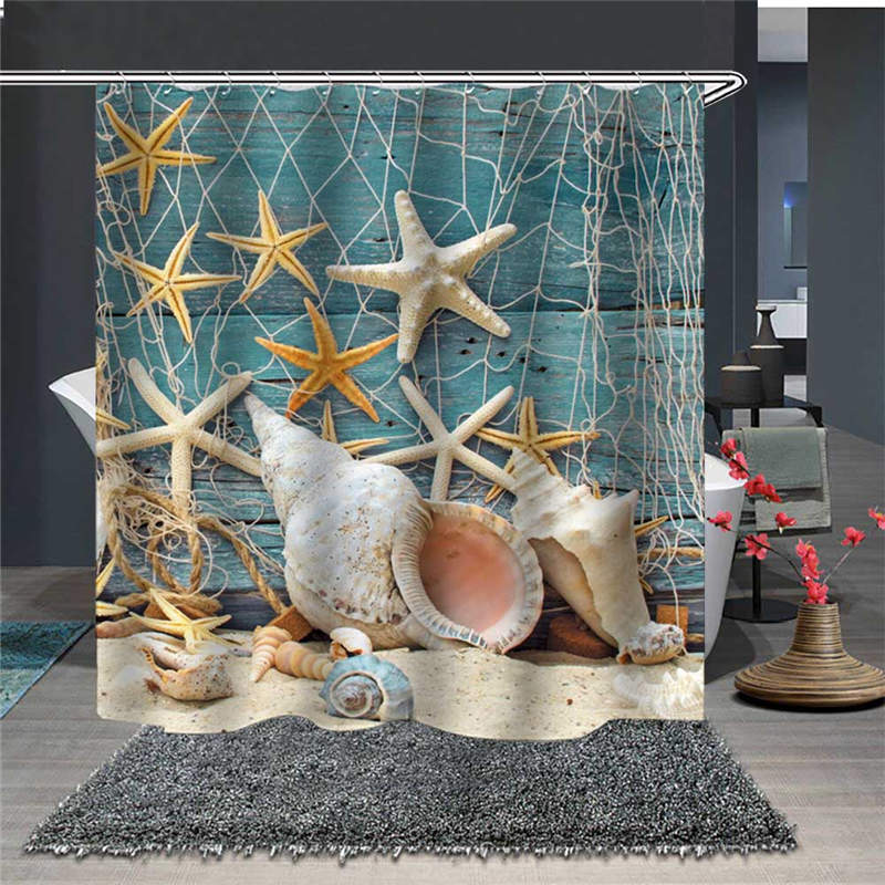 Waterproof and Mildewproof Starfish and Shells 3D Scenery Polyester Shower Curtains