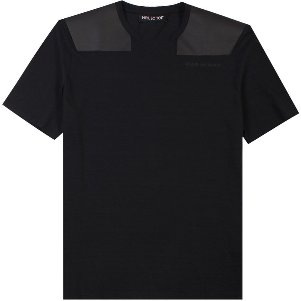 Neil Barrett Leather Patch T-Shirt Black  Colour: BLACK, Size: SMALL