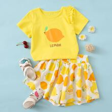 Toddler Girls Lemon Print Frill Tee With Shorts