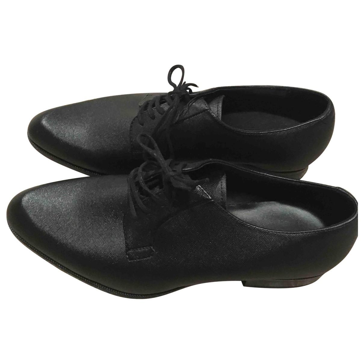 Zara \N Schnuerschuhe in  Schwarz Leder