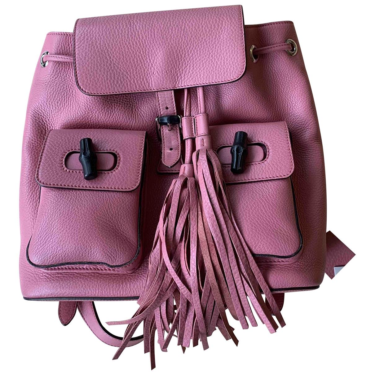 Gucci - Sac a dos Bamboo pour femme en cuir - rose