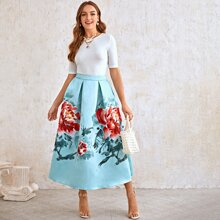 Solid Top & Boxy Pleated Floral Satin Skirt Set