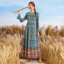 Tribal Print Frill Trim Dress