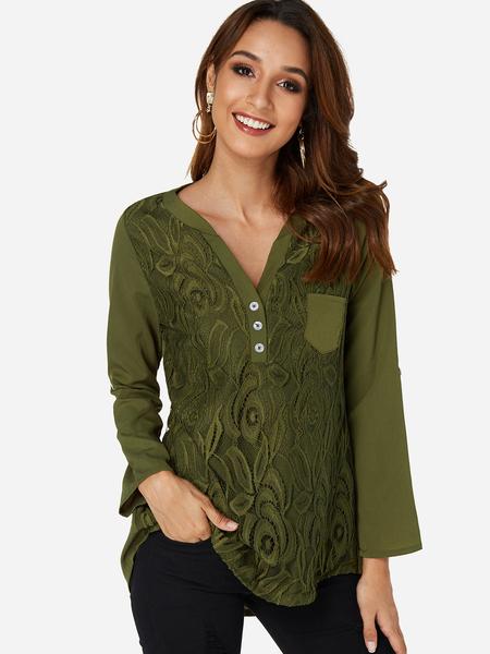 Yoins Green Lace Insert V-neck Long Sleeves Shirt