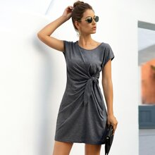 Self-Tie Knotted Mini Dress