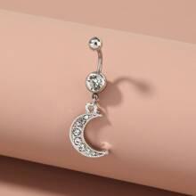 Rhinestone Decor Moon Charm Belly Ring