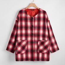 Plus Tartan Drop Shoulder Button Front Coat
