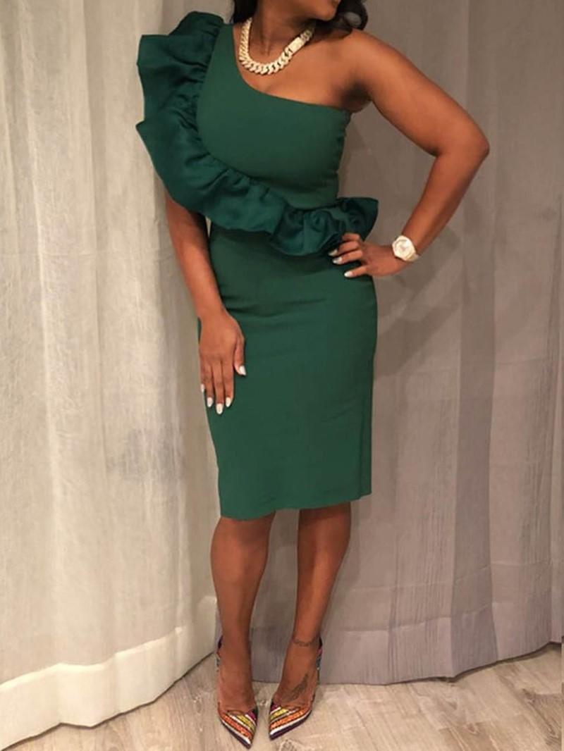 Ericdress Oblique Collar Sleeveless Knee-Length Bodycon Plain Dress
