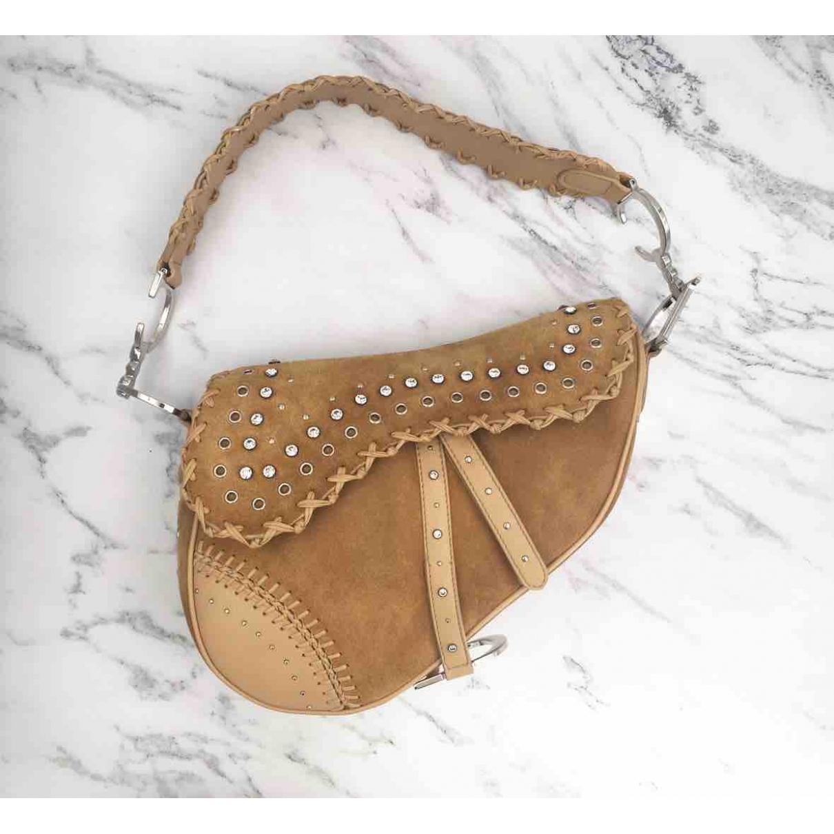 Dior Saddle Handtasche in  Kamel Veloursleder