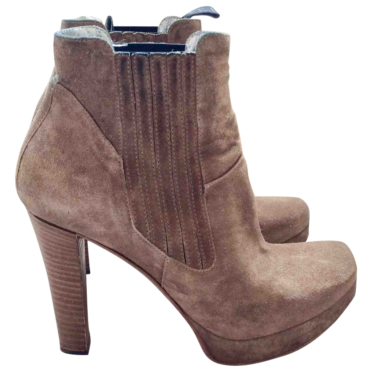 Free Lance \N Beige Leather Ankle boots for Women 37.5 EU