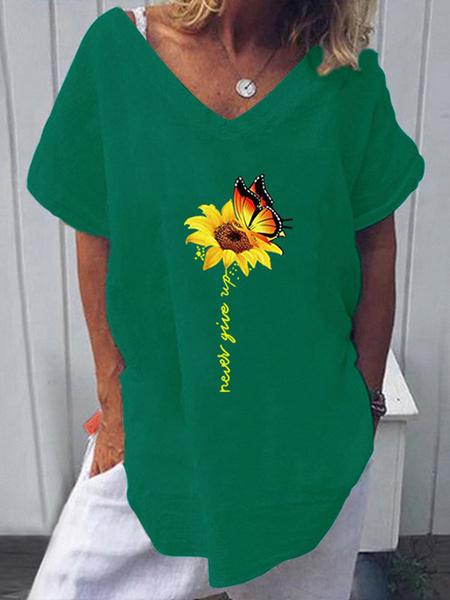 Milanoo Camiseta de manga corta con estampado de girasol y cuello en V para mujer