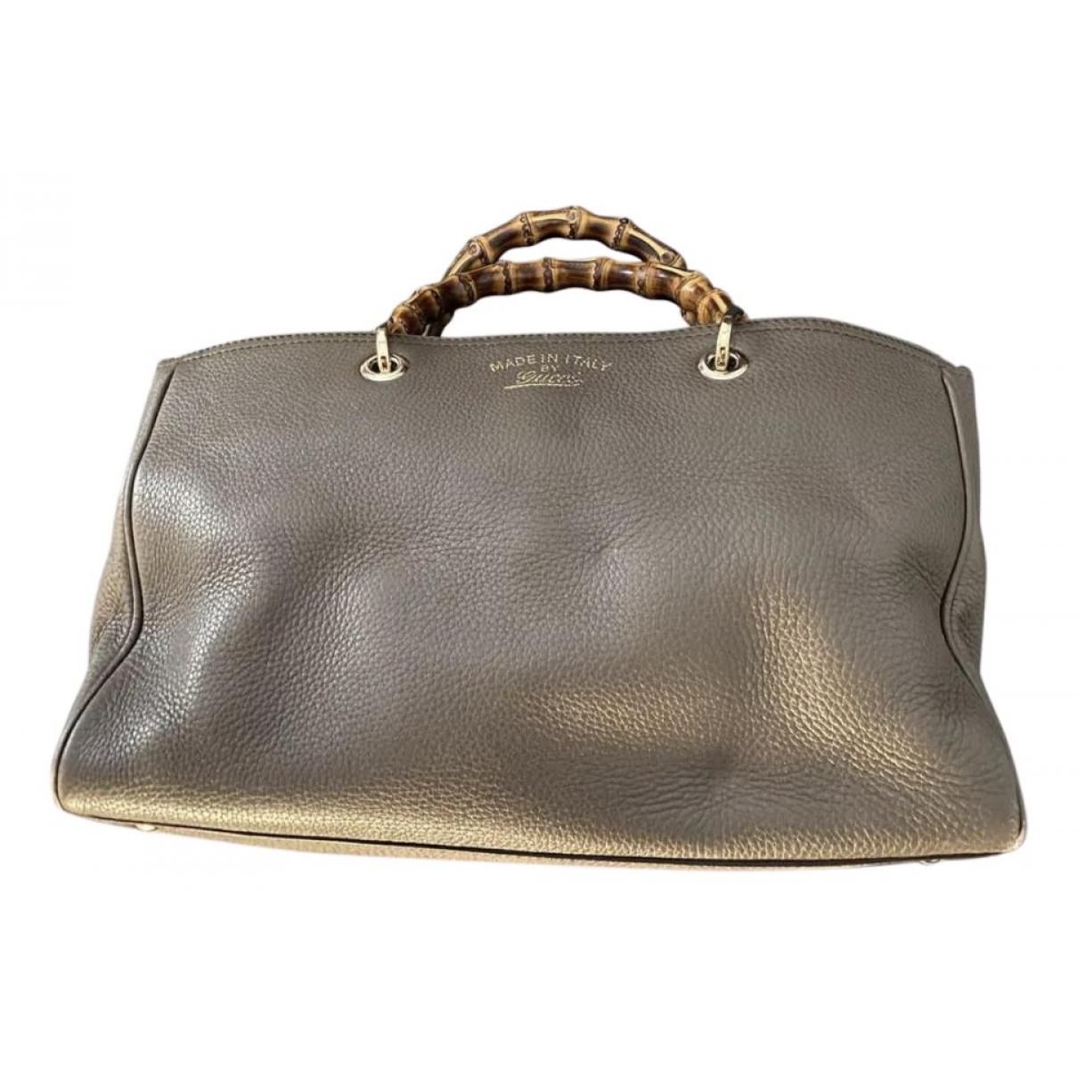 Gucci Bamboo Handtasche in  Grau Leder