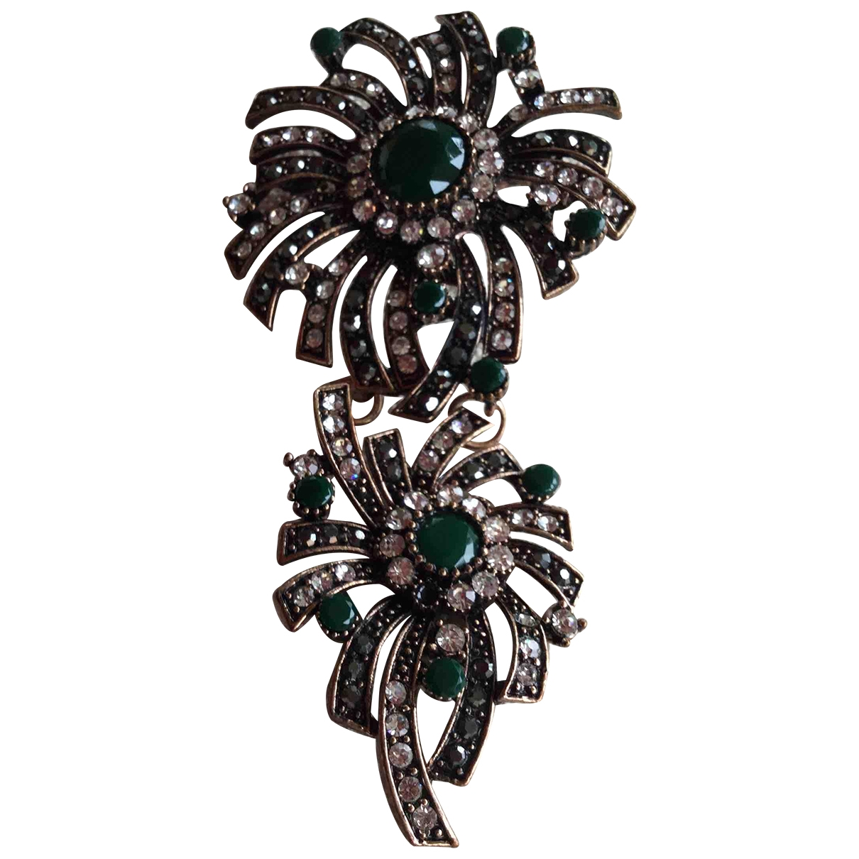 Non Signé / Unsigned Art Déco Green Metal Pins & brooches for Women \N