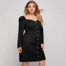 Plus Sweetheart Neck Button Up Dress