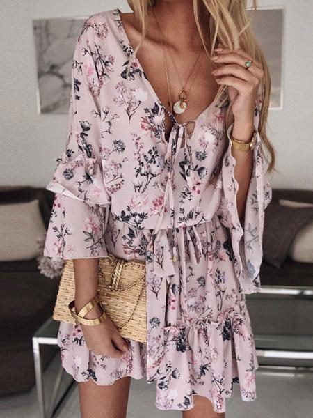 Milanoo Chiffon Summer Dress V Neck Floral Print Ruffles Short Beach Dress