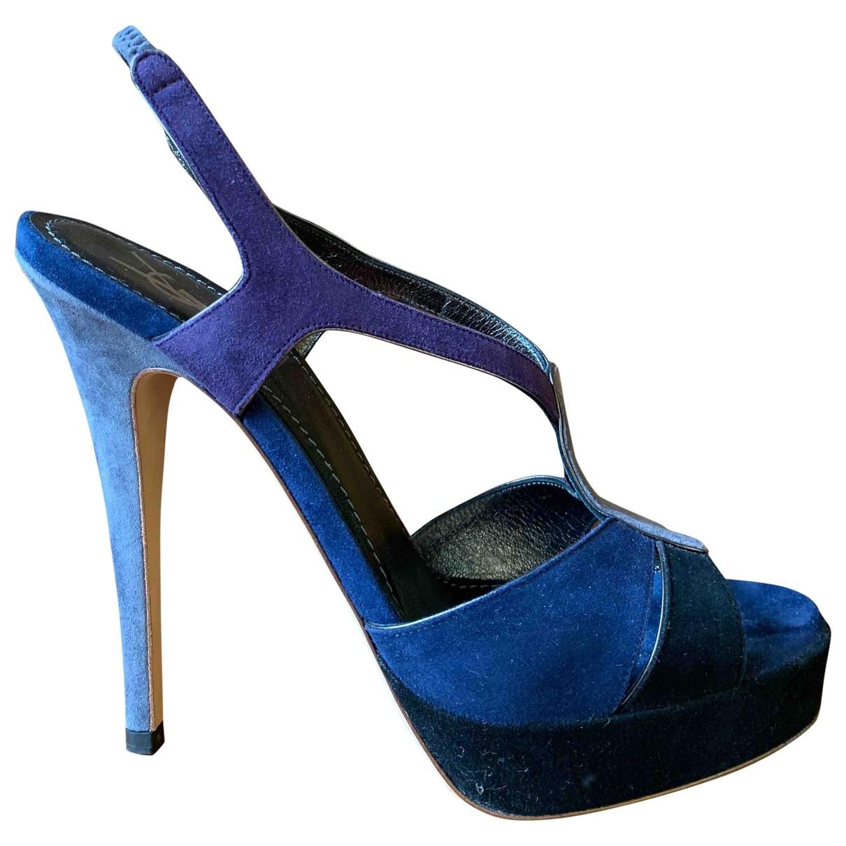 Yves Saint Laurent Tribute Navy Suede Sandals for Women 38.5 EU