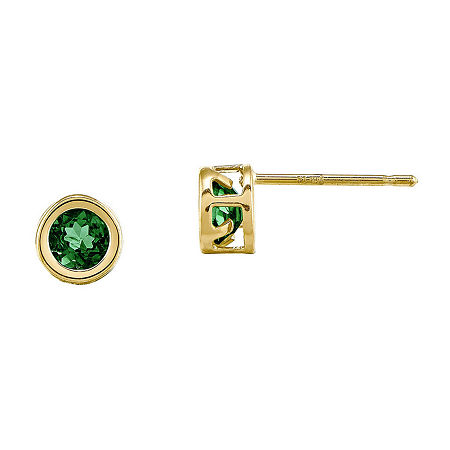 Genuine Emerald 14K Yellow Gold Stud Earrings, One Size , No Color Family