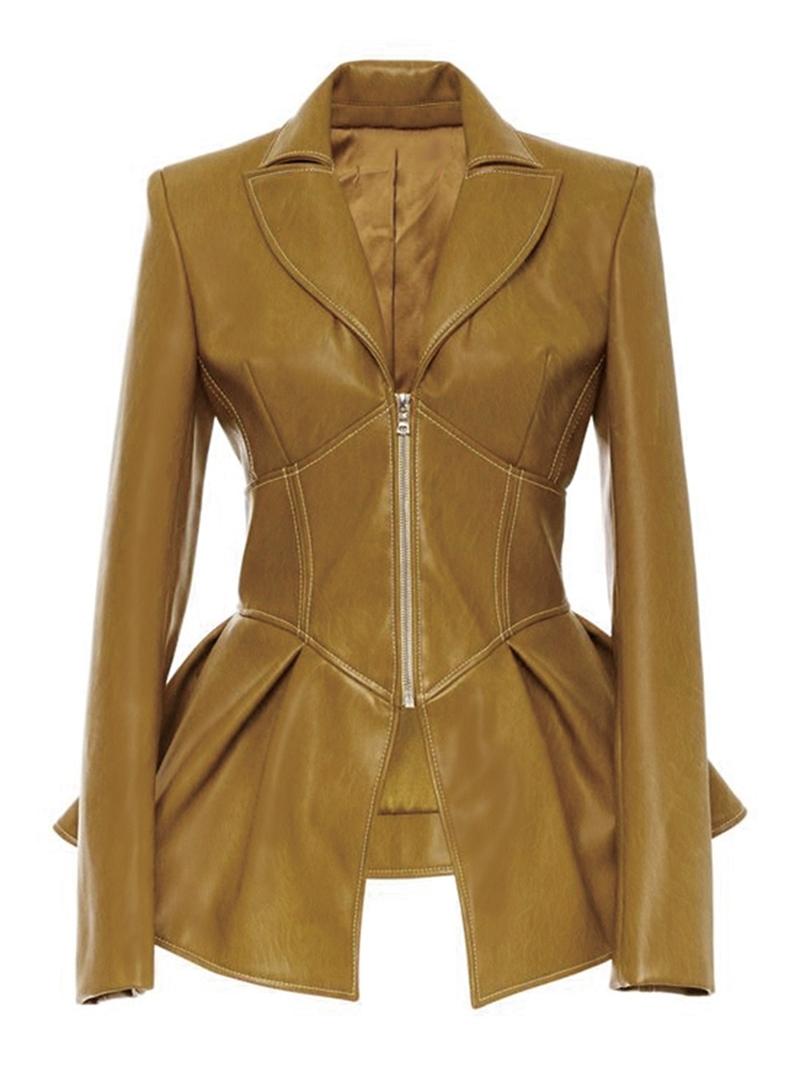 Ericdress PU Standard Zipper Fall PU Jacket