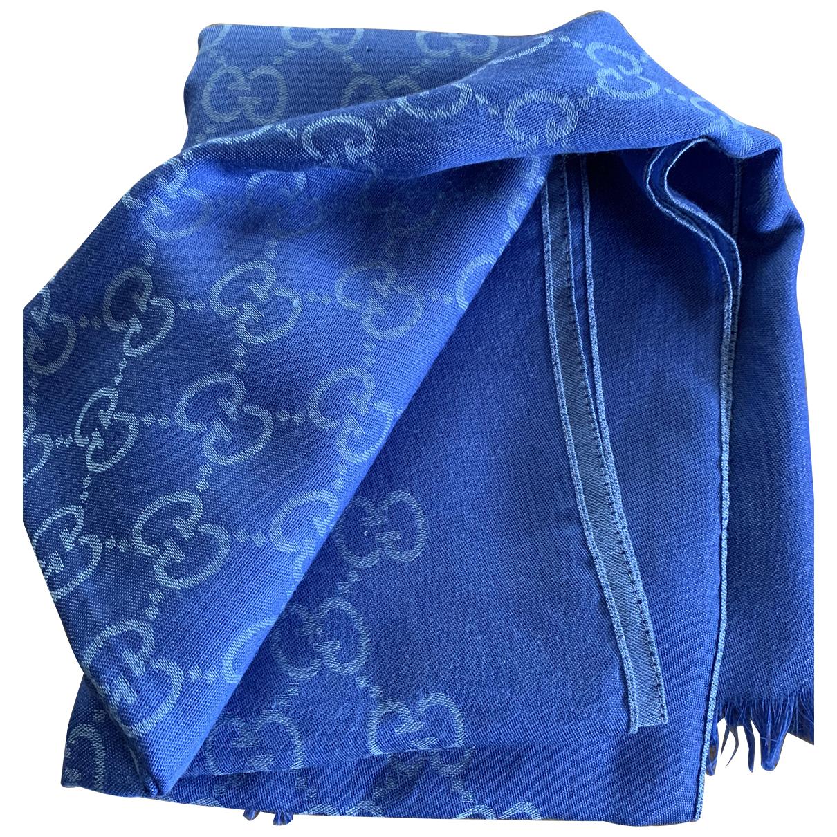 Gucci - Foulard   pour femme en laine - bleu