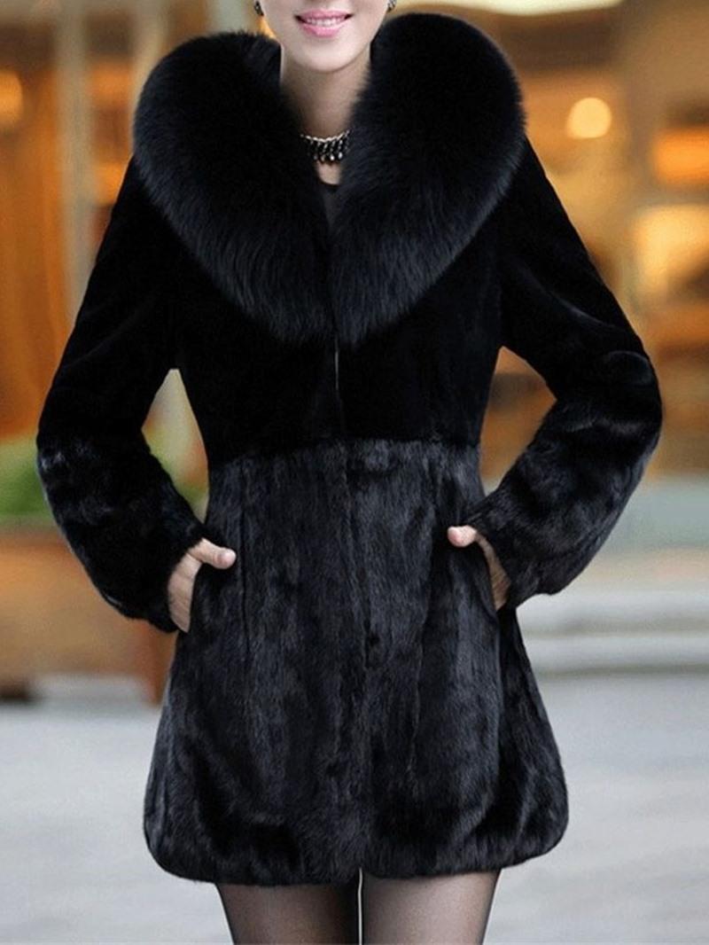 Ericdress Plain Mid-Length Regular A Line Women's Faux Fur Overcoat